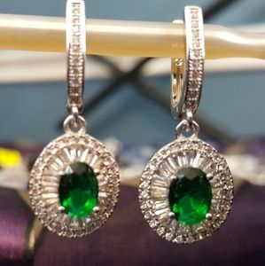 Jewelry - Emerald Green n White Cubic Zirconia Drop Earrings